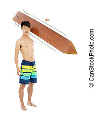 sunny surfer put surfboard on the shoulder