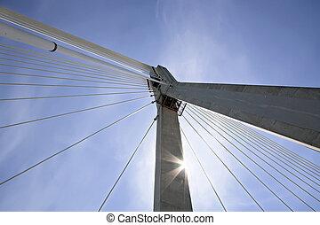 Sunny suspension bridge.