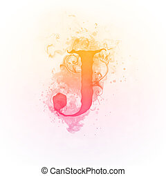 Sunny Swirl Letter J Isolated on White Background. Computer Design.