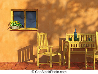 Sunny terrace with flowers and furniture