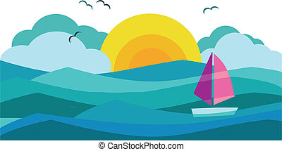 sunny view of ocean with sailing yacht 3