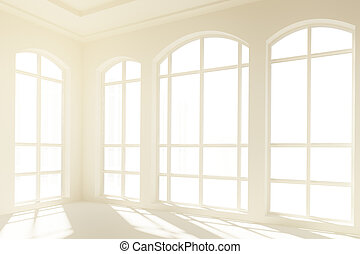 Sunny white interior with big windows