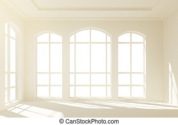Sunny white loft interior with big windows