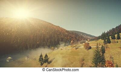 Sunny wildlife highland misty slope aerial view - Sunny...