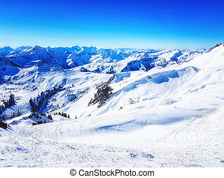 Sunny winter day in alpine ski resort, damüls vorarlberg Austria