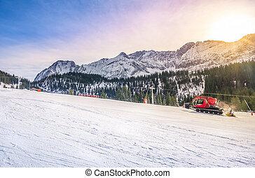 Sunny winter day on the ski slope