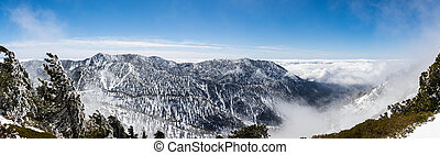 Sunny winter day with fallen snow and a sea of white clouds on the trail to Mt San Antonio (Mt Baldy), Los Angeles county, southern California