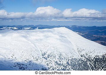 Sunny winter landscape in the mountains
