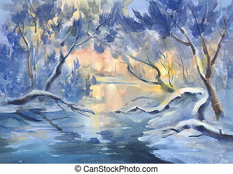 sunny winter landscape with a river watercolor