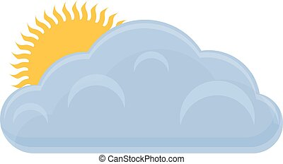 Sunny with clouds icon, cartoon style