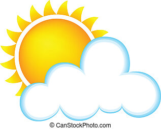 Sunny With Clouds - Weather Icon Representing Sunny Weather...