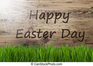 Sunny Wooden Background, Gras, Text Happy Easter Day