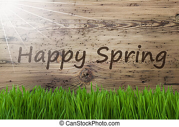 Sunny Wooden Background, Gras, Text Happy Spring