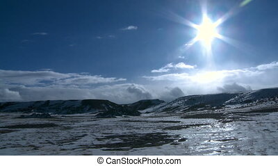 Sunny Wyoming Winter - The sun shines onto an icy cold...
