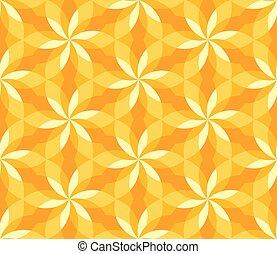 sunny yellow floral geometric seamless pattern.