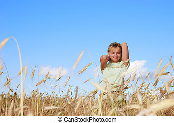Sunny young beauty girl the field under blue sky 3