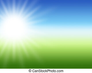 sunray summer background, green and blue colors