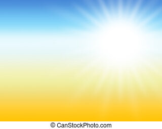 sunray summer desert background, yellow and blue colors