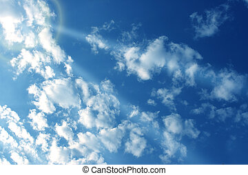 Sunray through white cloud for nature abstract background