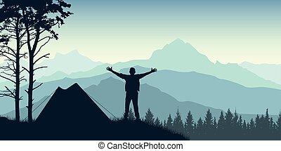sunrise., ベクトル, 旅行者, 山, forests., イラスト, テント, 背景, シルエット, 立つ