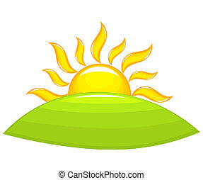 Sunrise above hill - Sun rising above the green hill. Vector...