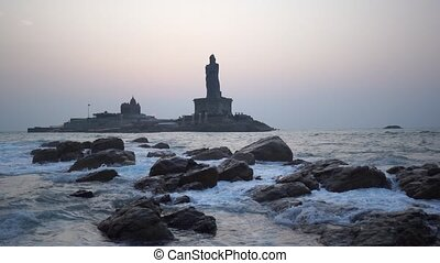 Kanyakumari Comorin cape Kerala India Sunrise above the sea