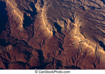 Grand Canyon - Sunrise aerial shot of the Hundred and Fifty...