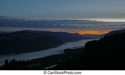 Sunrise along Columbia River Gorge