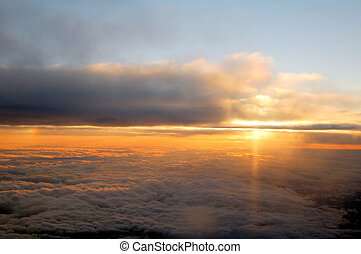 Sunrise and clouds viewed from above