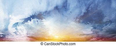 Sunrise and cloudy sky canvas