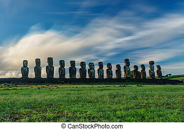 Sunrise and Moai statues of Ahu Tongariki on Easter Island -...