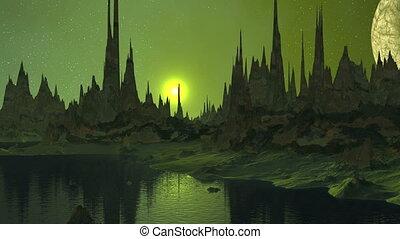 Sunrise and Moon over Alien Lake