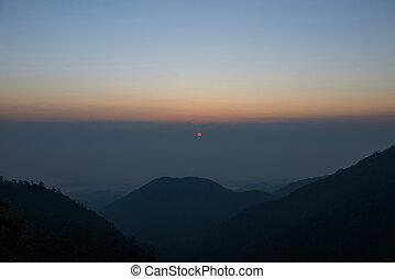 Sunrise and mountain