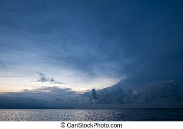 Sunrise and ocean view on paradise Lovina Beach - Bali,...