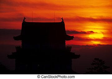 Sunrise and Odawara Castle