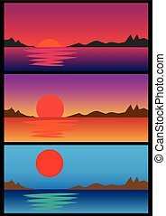 Vector illustration of sunrise and sunset over horizon in rural setting with reflection in water, mountain silhouette and colorful sky.