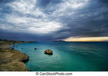 sunrise and turquoise ocean