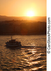 Sunrise at a port