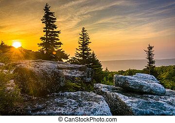 Sunrise at Bear Rocks Preserve, in Dolly Sods Wilderness,...