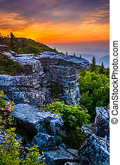 Sunrise at Bear Rocks Preserve, in Dolly Sods Wilderness, ...