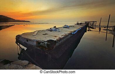 sunrise at broken jetty penang - a broken jetty near to...