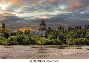 Sunrise at Capitol Lake in Olympia Washington
