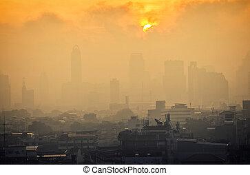 Sunrise at city of Bangkok