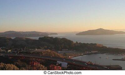 Sunrise at Golden Gate Bridge over San Francisco Bay Vista...