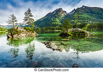Sunrise at Hintersee lake in Alps, Germany, Europe