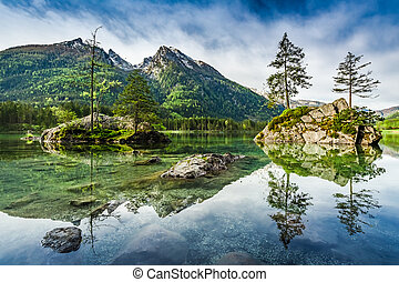 Sunrise at Hintersee lake in Alps, Germany