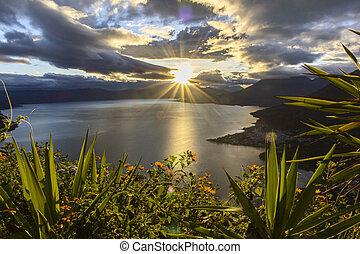 sunrise at lake atitlan