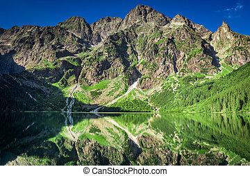 Sunrise at lake in the Tatra Mountains, Poland, Europe