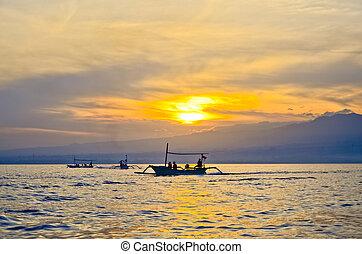 sunrise at Lovina beach Bali Indonesia - sunrise at Lovina...