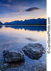 Sunrise at Lower Kananaskis Lake in the Canadian rockies